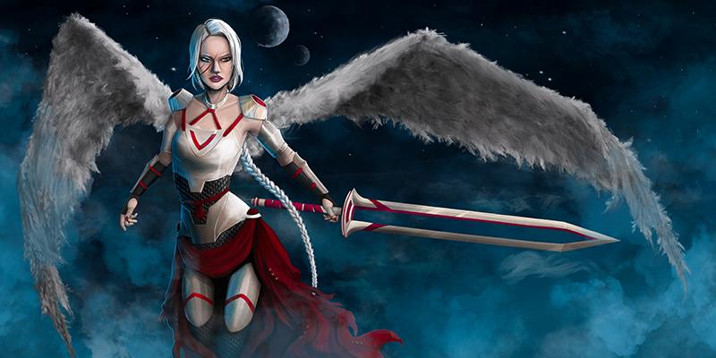 Avenging angel with sword, by Zoe Lovatt